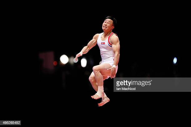 Ri Se Gwang for the People Republic of North Korea competes on the vault during day ten of The World Artistic Gymnastics Championships at The SSE...