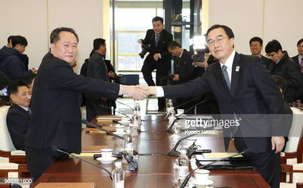 Ri Son Gwon chairman of North Korea's Committee for the Peaceful Reunification of the Country and South Korea's Unification Minister Cho Myoung Gyon...