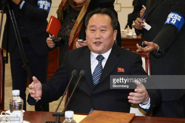 Ri Son Gwon chairman of North Koreas Committee for the Peaceful Reunification of the Fatherland speaks during a meeting with Cho Myounggyon South...