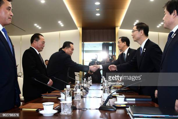 Ri Son Gwon chairman of North Koreas Committee for the Peaceful Reunification of the Fatherland center left and Cho Myounggyon South Korea's...