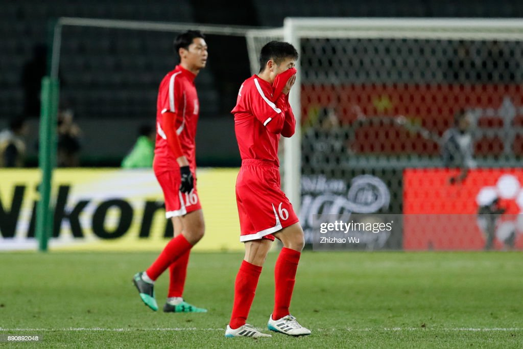 Ri Yong Jak of North Korea reacts during the EAFF E-1 Men's Football Championship match between North Korea and South Korea at Ajinomoto Stadium on December 12, 2017 in Chofu, Tokyo, Japan.