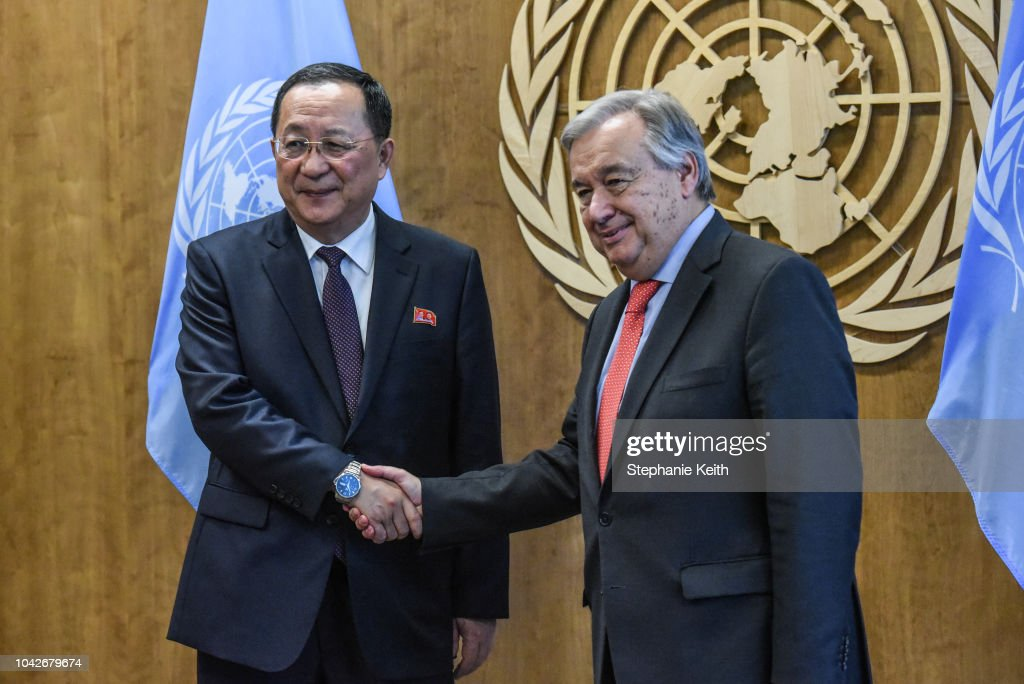 North Korean Minister Of Foreign Affairs Meets With United Nations Secretary General Antonio Guterres : News Photo