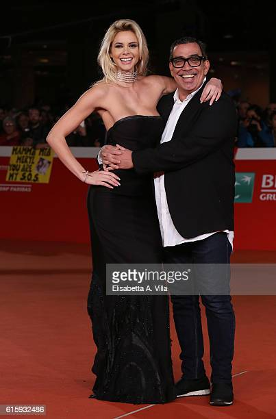 Ria Antoniou and designer Guillermo Mariotto walk a red carpet for 'Florence Foster Jenkins' during the 11th Rome Film Festival at Auditorium Parco...