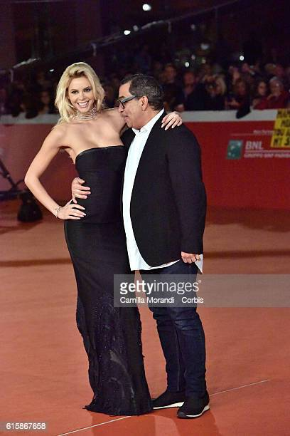 Ria Antoniou and Gulliermo Mariotto walk a red carpet for 'Florence Foster Jenkins' during the 11th Rome Film Festival on October 20 2016 in Rome...
