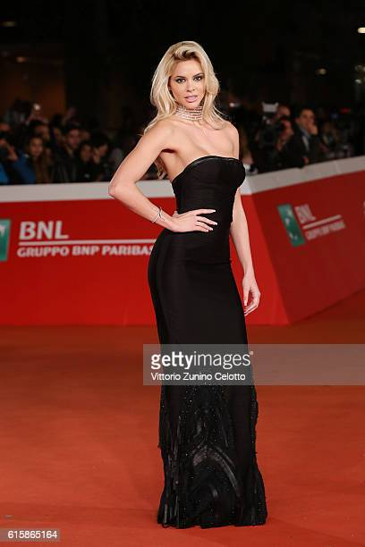 Ria Antoniou walks a red carpet for 'Florence Foster Jenkins' during the 11th Rome Film Festival at Auditorium Parco Della Musica on October 20 2016...