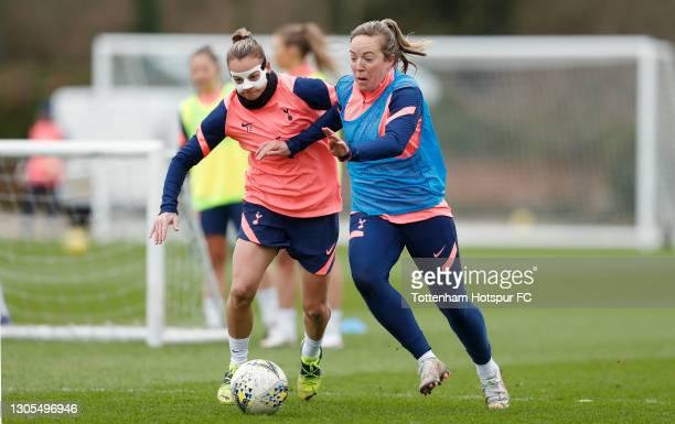 Ria Percival and Gemma Davison of Tottenham Hotspur Women during the Tottenham Hotspur Women training session at Tottenham Hotspur Training Centre on...