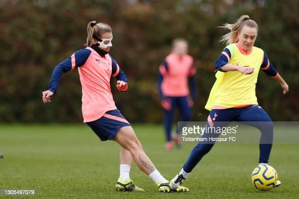 Ria Percival and Josie Green of Tottenham Hotspur Women during the Tottenham Hotspur Women training session at Tottenham Hotspur Training Centre on...
