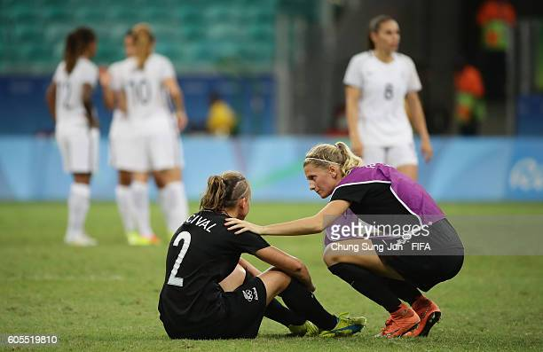 Ria Percival and Katie Bowen of New Zealand in dejection after the Women's Football match between New Zealand and France on Day 4 of the Rio 2016...
