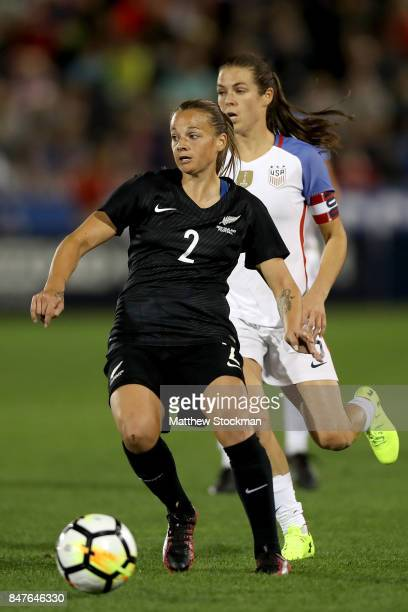 Ria Percival of New Zealand advances the ball against the United States at Dick's Sporting Goods Park on September 15 2017 in Commerce City Colorado