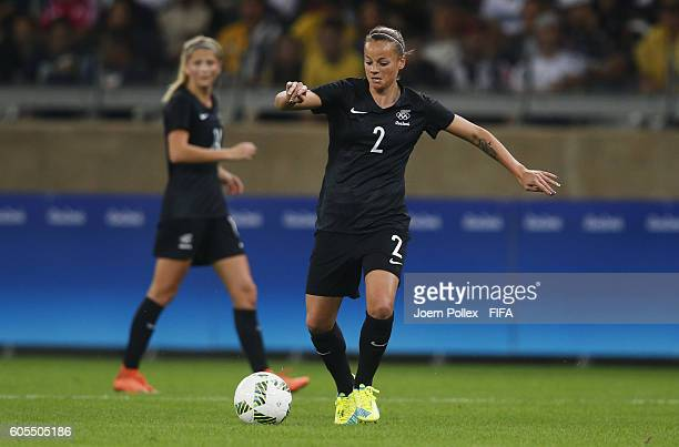 Ria Percival of New Zealand controls the ball during Women's Group G match between USA and New Zealand on Day 2 of the Rio2016 Olympic Games at...