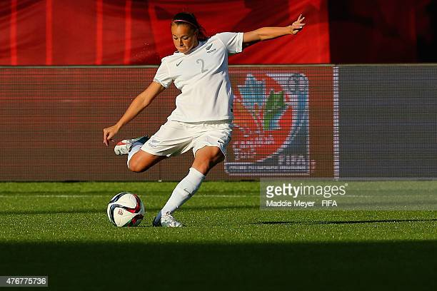 Ria Percival of New Zealand hits a set piece during the FIFA Women's World Cup Canada 2015 Group A match against the Canada at Commonwealth Stadium...