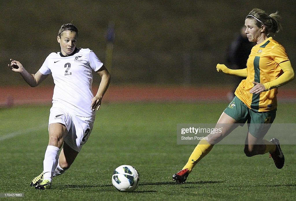 Ria Percival of New Zealand in action during game one of the Women's International Series between the Australian Matildas and the New Zealand Football Ferns at AIS on June 13, 2013 in Canberra, Australia.