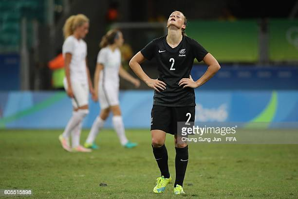Ria Percival of New Zealand in dejection after the Women's Football match between New Zealand and France on Day 4 of the Rio 2016 Olympic Games at...