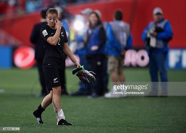 Ria Percival of New Zealand leaves the pitch in tears after the FIFA Women's World Cup Canada 2015 Group A match between China PR and New Zealand at...