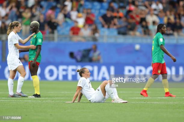 Ria Percival of New Zealand looks dejected following the 2019 FIFA Women's World Cup France group E match between Cameroon and New Zealand at Stade...