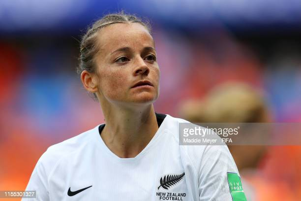 Ria Percival of New Zealand looks on during the 2019 FIFA Women's World Cup France group E match between New Zealand and Netherlands at Stade Océane...