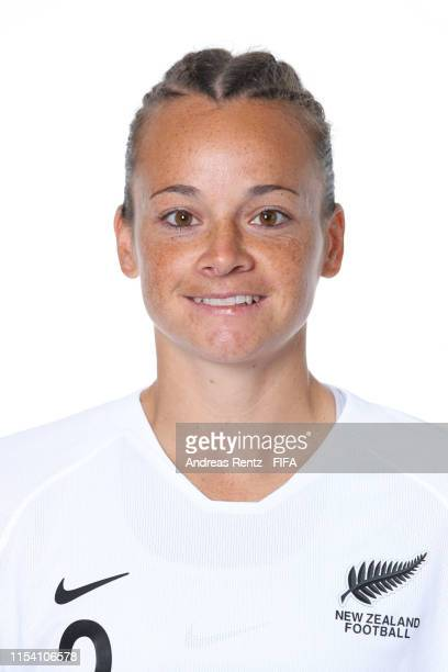 Ria Percival of New Zealand poses for a portrait during the official FIFA Women's World Cup 2019 portrait session at Hotel Mercure Le Havre Centre...