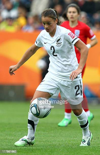 Ria Percival of New Zealand runs with the ball during the FIFA Women's World Cup 2011 Group B match between New Zealand and England at...