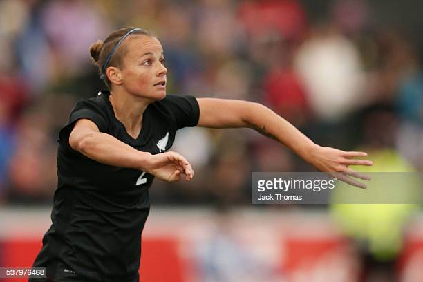 Ria Percival of New Zealand throws the ball in during the women's international friendly match between the Australian Matildas and the New Zealand...