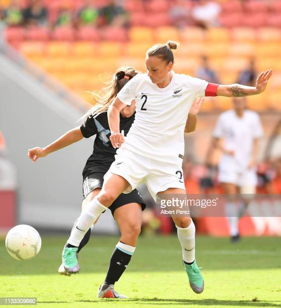 Ria Percival of New Zealand wins the ball against Adriana Sachs of Argentina during the 2019 Cup of Nations match between Argentina and New Zealand...
