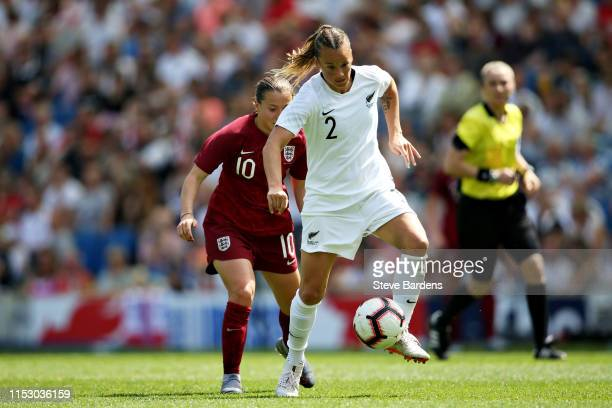 Ria Percival of New Zealand Women controls the ball during the International Friendly between England Women and New Zealand Women at Amex Stadium on...