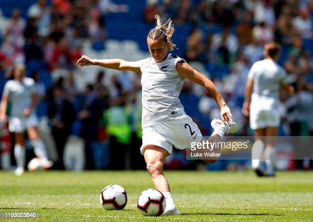 Ria Percival of New Zealand Women warms up before the International Friendly between England Women and New Zealand Women at Amex Stadium on June 01...