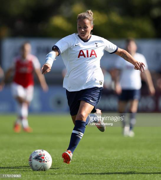 Ria Percival of Tottenham Horspur in action during the pre season friendly match between Arsenal Women and Tottenham Hotspur Women at Meadow Park on...