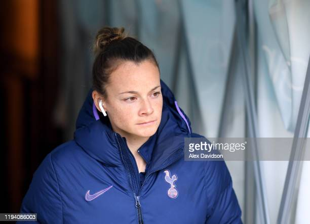 Ria Percival of Tottenham Hotspur arrives at the stadium prior to the Barclays FA Women's Super League match between Reading and Tottenham Hotspur at...