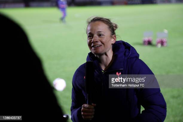 Ria Percival of Tottenham Hotspur is interviewed after the FA Women's Continental League Cup match between Arsenal Women and Tottenham Hotspur Women...