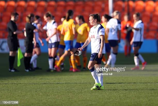 Ria Percival of Tottenham Hotspur reacts after the Barclays FA Women's Super League match between Tottenham Hotspur Women and Everton Women at The...