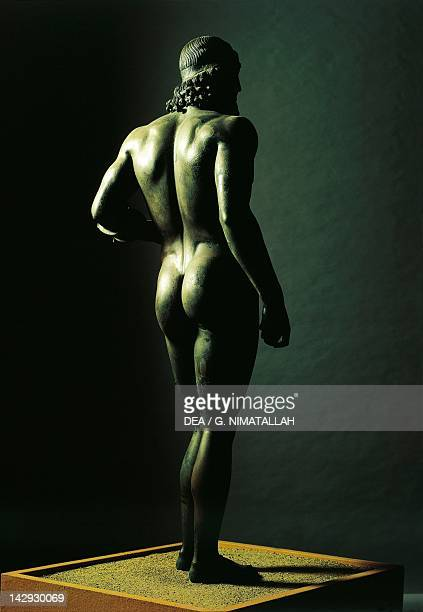 Riace Bronzes Statue A or the Younger from Greece and recovered from the waters off Riace Marina Calabria Italy Height 205 cm Back Ancient Greek...