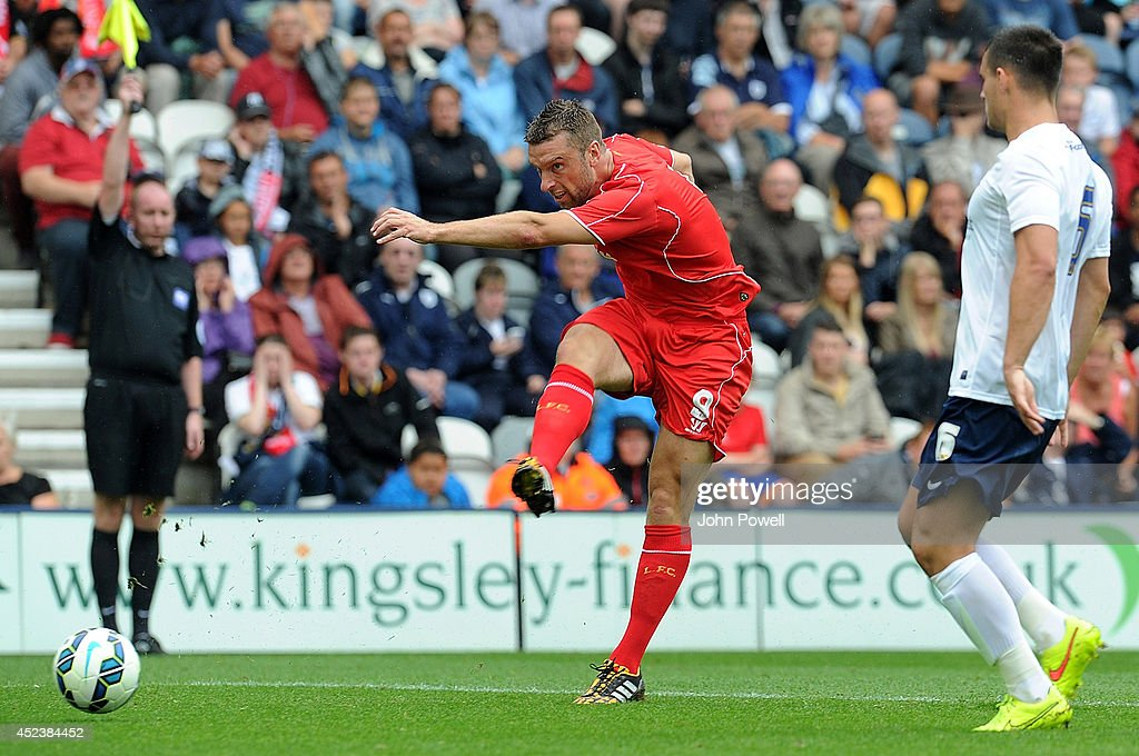 Riackie Lambert of Liverpool comes close during the Pre Season friendly match between Preston North End and Liverpool at Deepdale on July 19, 2014 in Preston, Lancashire.