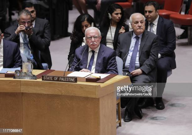 Riad AlMalki Minister for Foreign Affairs of the State of Palestine addresses the Security Council meeting on the situation in the Middle East...