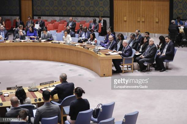 Riad Al-Malki, Minister for Foreign Affairs of the State of Palestine, addresses the Security Council meeting on the situation in the Middle East,...