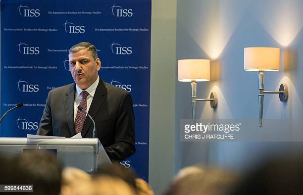 Riad Hijab General Coordinator of the High Negotiations Committee speaks at a press conference in central London on September 7 2016 Syria's...