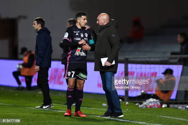 Riad Nouri and Olivier Pantaloni Coach of Ajaccio during Ligue 2 match between Nimes and AC Ajaccio at Stade des Costieres on February 2 2018 in...