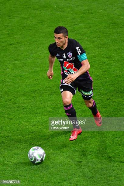 Riad Nouri of AC Ajaccio during the French Ligue 2 match between Reims and Ajaccio at Stade Auguste Delaune on April 20 2018 in Reims France