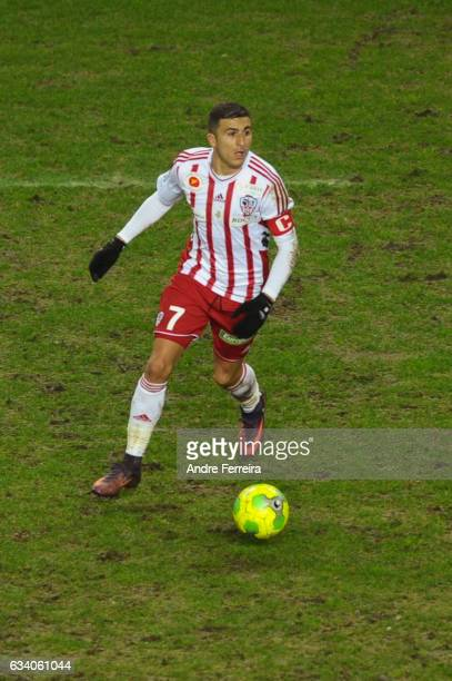 Riad Nouri of AC Ajaccio during the Ligue 2 match between Red Star and AC Ajaccio at Stade Jean Bouin on February 6 2017 in Paris France