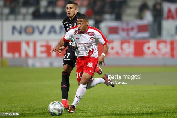Riad Nouri of Ajaccio and Arnaud Nordin of Nancy during the Ligue 2 match between AS Nancy and AC Ajaccio on November 17 2017 in Nancy France