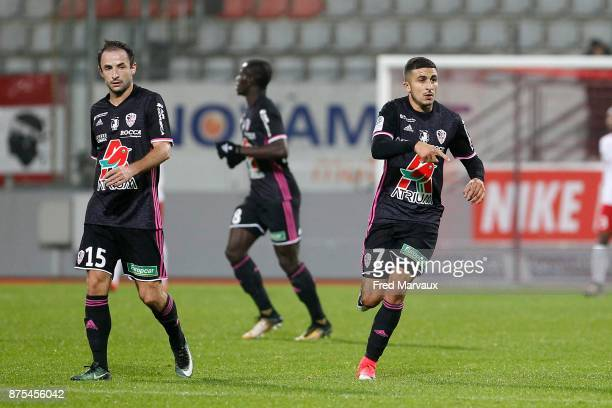 Riad Nouri of Ajaccio celebrates scoring his first goal during the Ligue 2 match between AS Nancy and AC Ajaccio on November 17 2017 in Nancy France