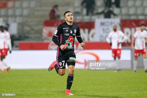 Riad Nouri of Ajaccio celebrates scoring his goal during the Ligue 2 match between AS Nancy and AC Ajaccio on November 17 2017 in Nancy France