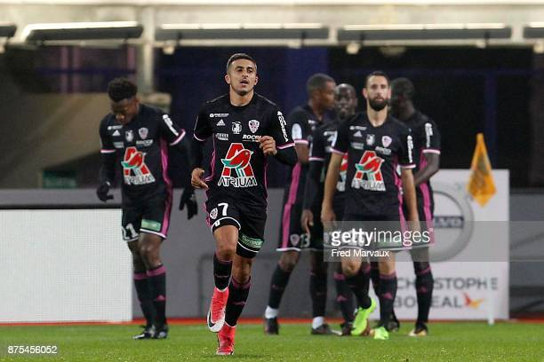 Riad Nouri of Ajaccio celebrates scoring his second goal during the Ligue 2 match between AS Nancy and AC Ajaccio on November 17 2017 in Nancy France