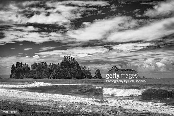 rialto beach in olympic national park washington - rialto beach stock photos and pictures