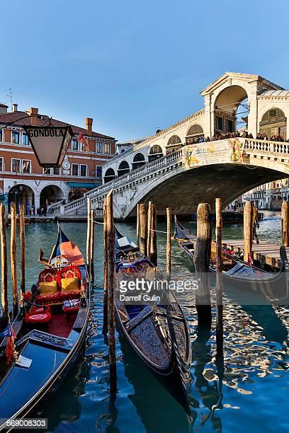 Rialto Bridge and gondolas, Venice