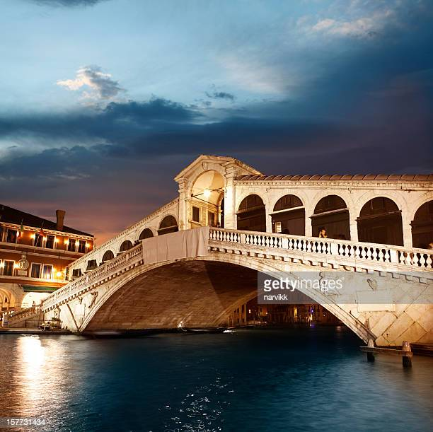 Rialto Bridge in Venice by twilight