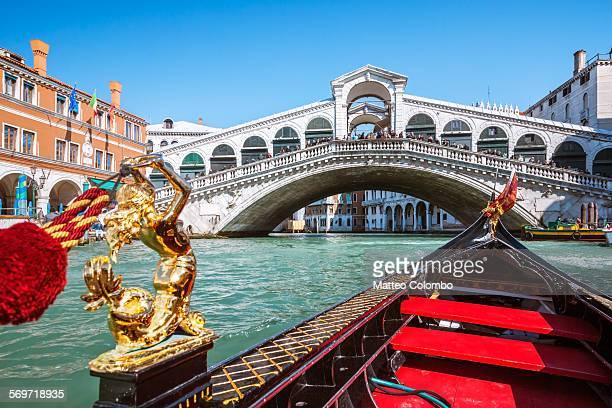 Rialto bridge seen from a gondola, Venice, Italy
