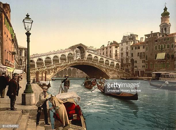 Rialto Bridge Venice Italy Photochrome Print circa 1900