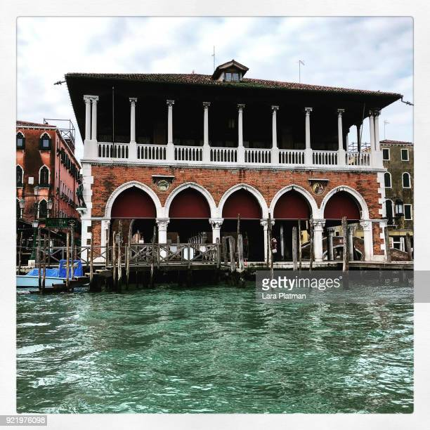 rialto fish market on the grand canal - lara platman stock pictures, royalty-free photos & images