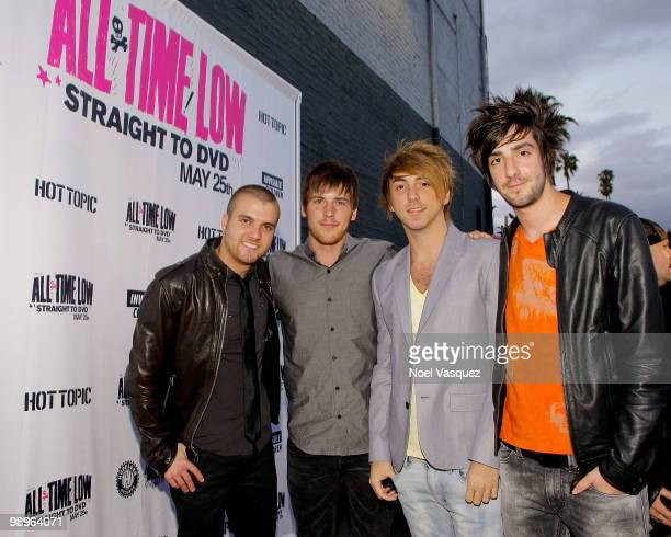Rian Dawson Zack Merrick Alex Gaska and Jack Barakak attend the screening and release party for All Time Low's 'Straight To DVD' at The Music Box on...