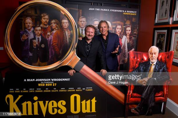 Rian Johnson and Don Johnson attend a Knives Out QA at Ham Yard Hotel on October 07 2019 in London England